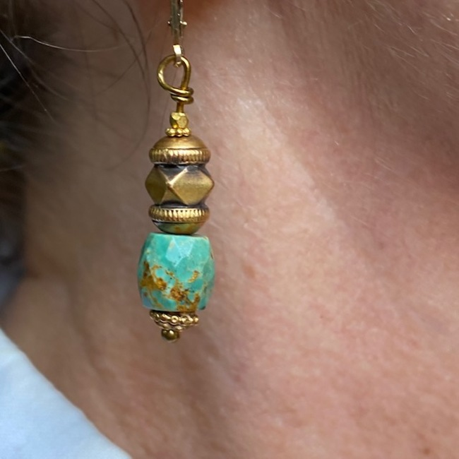 BOUCLES D'OREILLES OR TURQUOISE INDE