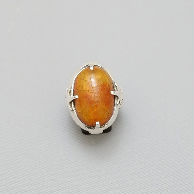 PERSIAN SILVER RING WITH AMBER BEAD