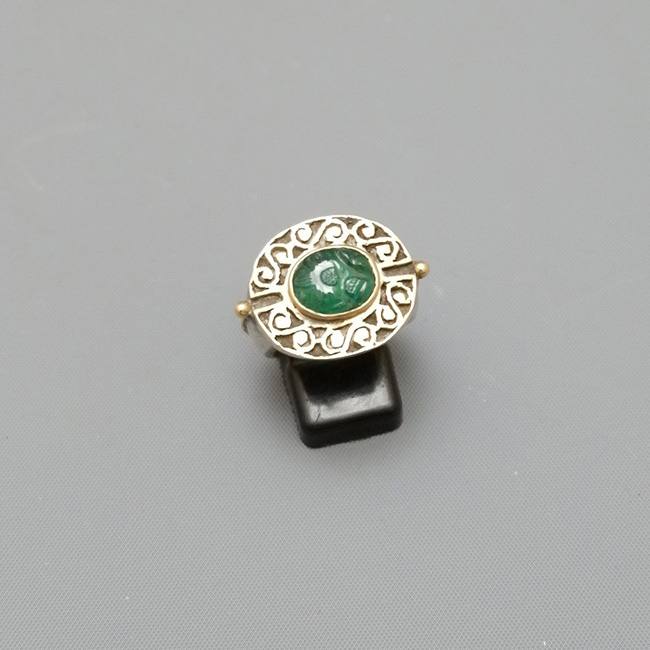 RING SILVER GOLD AND EMERALD
