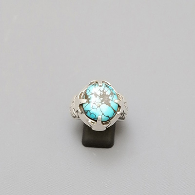 SILVER PERSIAN RING WITH TURQUOISE