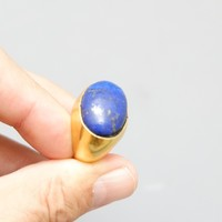 BAGUE OR 18ct + LAPIS
