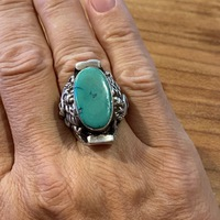 BAGUE SELLE ARGENT TURQUOISE TIBET