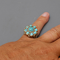 SILVER AND TURQUOISES LADAKH RING